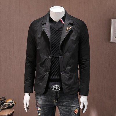 【時尚先生男裝】大碼男裝羽絨服男款西裝領修身輕薄羽絨衣保暖防寒簡約冬裝新品青年潮外套DXD00200