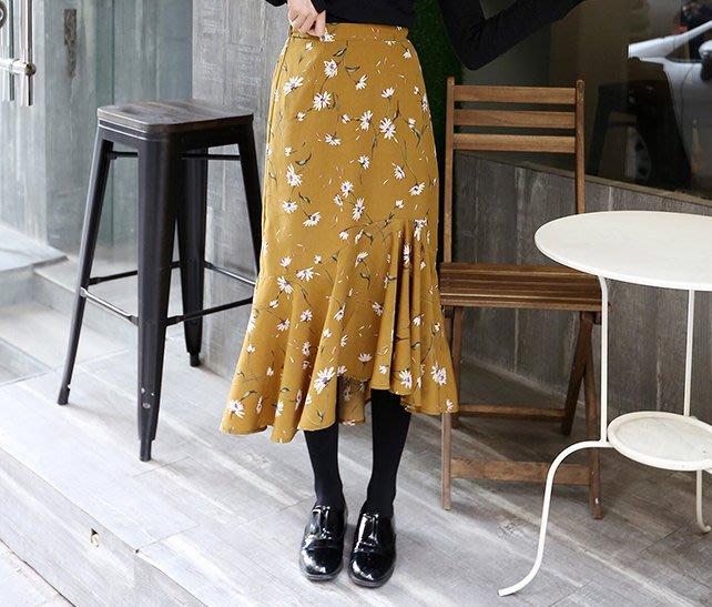 SeyeS   MINI 復古率性女孩基本款碎花魚尾裙