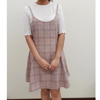 現貨 正韓製 粉色格紋雪紡散襬洋裝