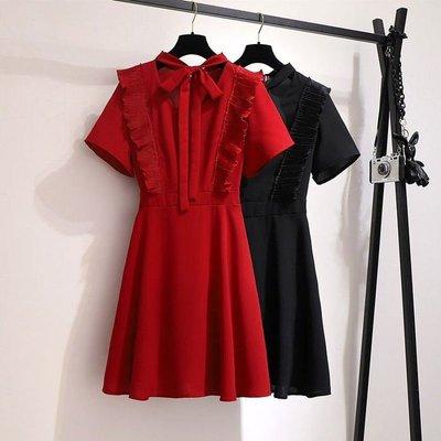 現貨 中大尺碼【60235-Y】大碼雪紡裙收腰顯瘦洋裝(超特惠)~☆☆BIGMAYMAY☆☆~