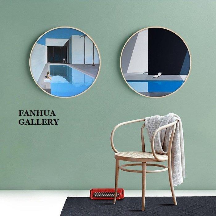 C - R - A - Z - Y - T - O - W - N 泳池系列圓形版畫獨處的藍色時光現代簡約掛畫小眾圓形裝飾畫客廳玄關臥室掛畫