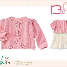 【B& G童裝】正品美國進口GYMBOREE 鑲金蔥粉紅色針織長袖罩衫外套12-18mos