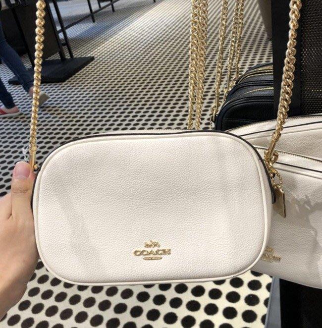 甜心精品代購 COACH 25922 白色 最新款手拿包 全皮鏈條女士斜跨手拿包 附代購憑證 價格標籤 COACH鏡子