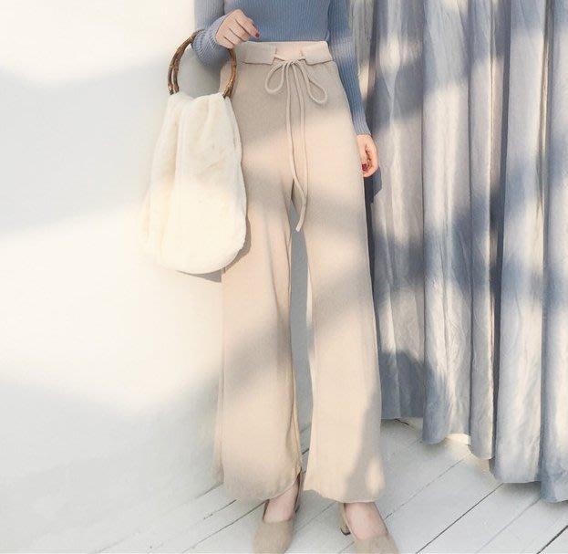 SeyeS 個性時尚復古優雅顯瘦針織腰帶寬褲