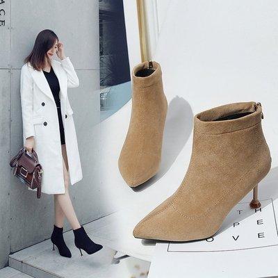 折扣秋冬新款襪子靴彈力靴子女高跟尖頭細跟短靴踝靴馬丁靴 限時85折下殺