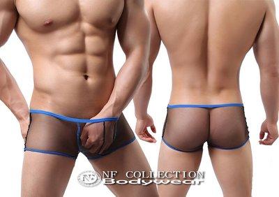 《NANNY_FENG》極緻性感男性輕薄透氣清爽透氣滾邊平口褲 4216黑底滾藍邊