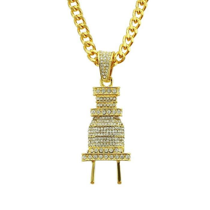 【新流行】嘻哈男士萬聖節爆款項飾項鍊誇張掛件飾品說唱滿鑽插頭吊墜歐美風格
