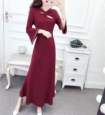 日和生活館 輕熟洋裝連身裙中長版名媛氣質修身顯瘦禮服裝釘珠裙S686