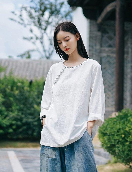 【子芸芳】棉麻復古文藝手工縫線盤扣長袖棉麻衫上衣T恤