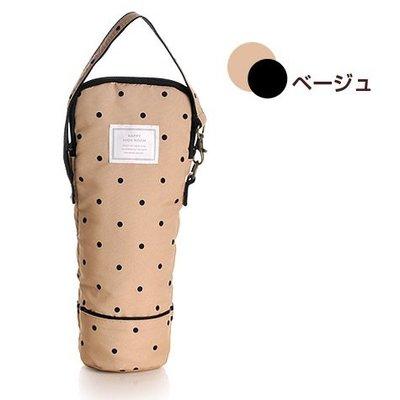 日本 Happy High Noon 卡其色波點帆布 保溫 保冷 水壺袋 ($160 包順豐)