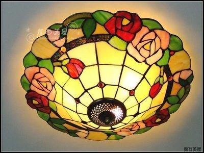 凱西美屋 紅粉玫瑰弟凡內吸頂燈 鄉村玫瑰帝凡尼16寸吸頂燈