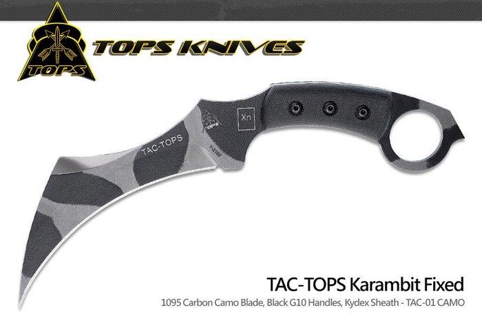 【angel 精品館 】美國TOPS Karambit 黑電木柄戰術直刀1095碳鋼迷彩TAC-01-CAMO