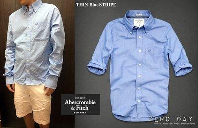 【零時差美國時尚網】A&F Abercrombie&Fitch OTIS LEDGE Shirt牛津布寬條紋藍色長袖襯衫