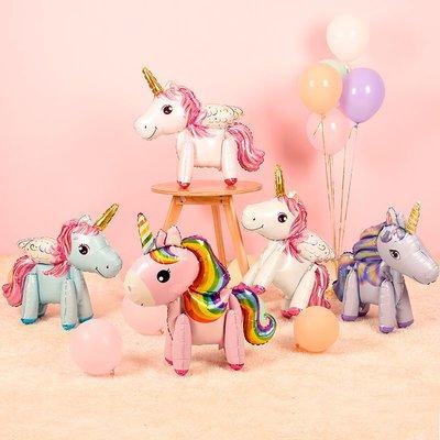 卡通獨角獸主題寶寶一周歲生日布置氣球兒童生日派對鋁膜氣球裝飾