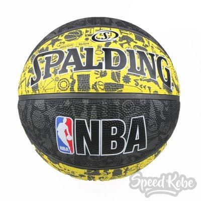 SPALDING 籃球 NBA 塗鴉 黃灰黑 室外 7號球 SPA83307【SP】