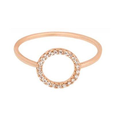 SHASHI孫芸芸款ShopSmart直營店 紐約品牌 Circle Pave 鑲鑽圓滿圈圈戒指 925純銀鑲玫瑰金