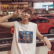 男裝男裝 香港夏季寬松印花無袖背心t恤男學生嘻哈潮流坎肩上衣