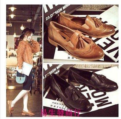 【易生發商行】秋季小皮鞋女英倫風女鞋牛津鞋女尖頭粗跟單鞋復古流蘇布洛F6198