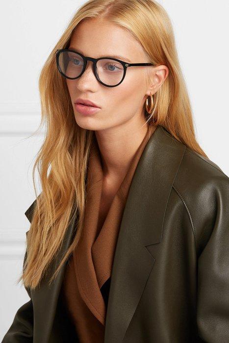 CC Collection 代購 Gucci 黑色膠框平光光學眼鏡/鏡架