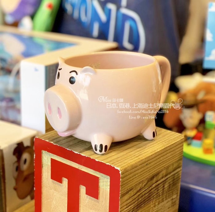 Miss莎卡娜代購【上海迪士尼樂園】﹝預購﹞玩具總動員 火腿豬 豬排博士 造型陶瓷馬克杯