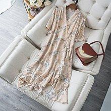 超值 春夏  別緻荷葉邊 V領五分袖  飄逸桑蠶絲 洋裝  魚尾裙連身裙 春夏 M