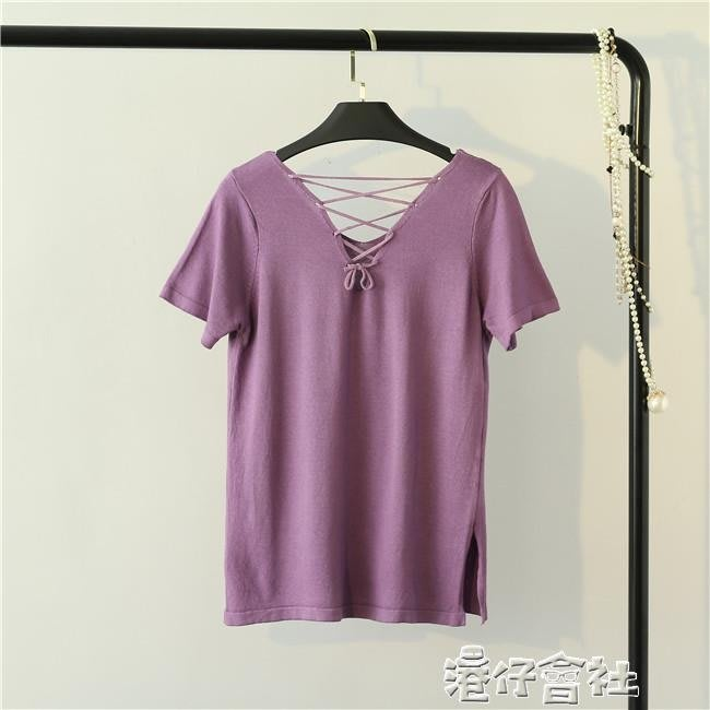夏新韓版寬鬆V領森女後背交叉薄針織衫顯瘦冰絲女T恤