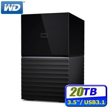 WD My Book Duo 20TB(10TBx2)USB3.1 3.5吋雙硬碟儲存 256位元AES硬體加密