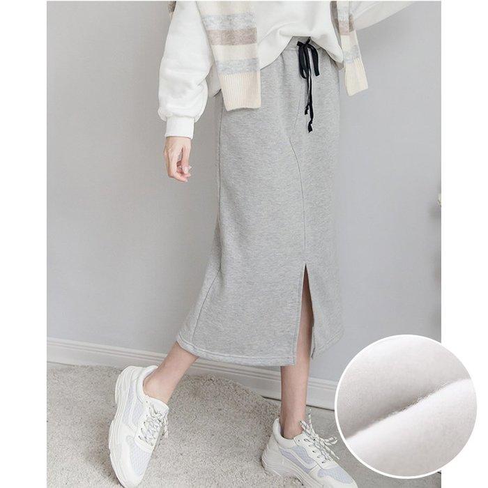 【Hao Da】全館399免運↘「M~XL。現貨」休閒內刷毛 前開衩 棉質中長裙 (P1218)