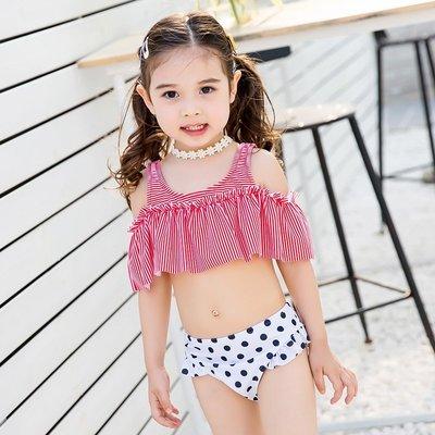 【小阿霏】兒童兩件式泳衣 女童甜美條紋...