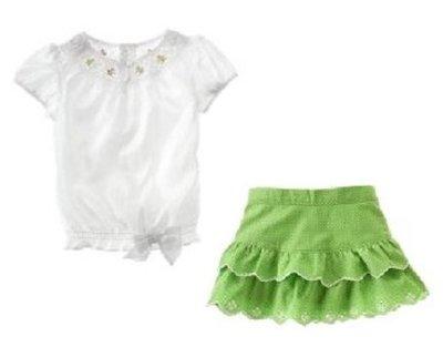 (((出清特價))) 全新 ~ JANIE AND JACK 絲綢繡花蛋糕裙套裝 (7yrs)