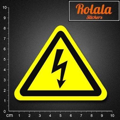 【S075】單張PVC防水貼紙 電擊危險貼紙 黃色警戒貼紙 閃電驚嘆號貼紙 有電勿觸貼紙《同價位買4送1》ROLALA