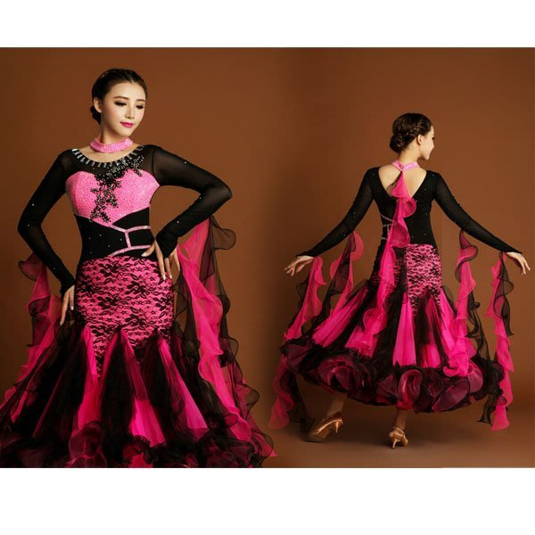 5Cgo【鴿樓】會員有優惠 536743079904 摩登舞衣訂制 普羅旺斯的花朵 撞色拼接摩登舞裙演出服 國標舞裙