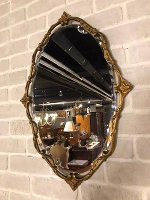 【卡卡頌  歐洲古董】法國老件~刷金  金屬雕刻 古典 洛可可 掛鏡 M0061✬