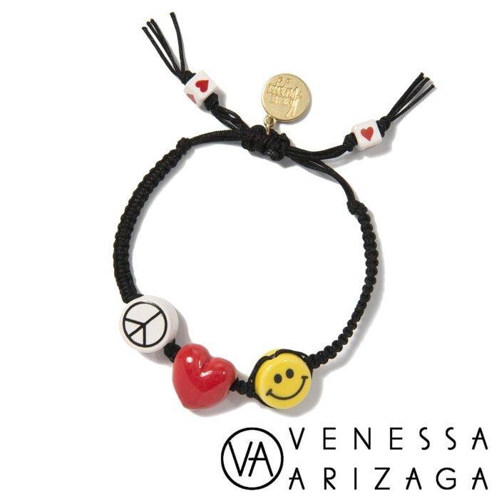 Venessa Arizaga PEACE LOVE AND HAPPINESS 黑色手鍊