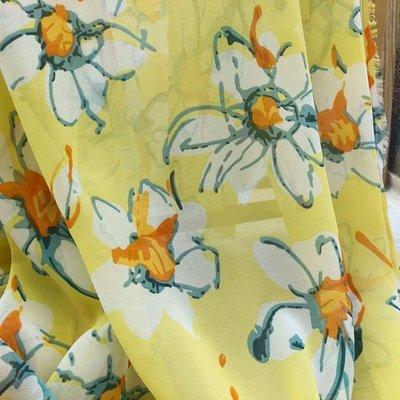 5729 黃色花朵印花雪紡布料 輕薄飄逸 幅寬145cm~1碼