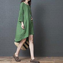 長袖洋裝◎ 女人心語 ◎ 中大尺碼 前短後長寬鬆純色素面棉麻長袖連身裙 (二色) 預 CK-N-BC-SK