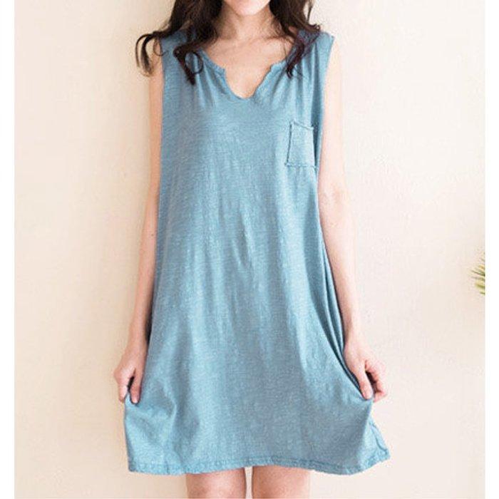 【Hao Da】全館399免運↘「M~XL。現貨」休閒V領 竹節棉長版上衣 小洋裝 (P1153)