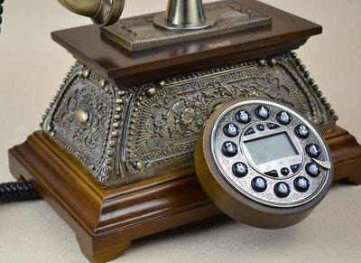INPHIC-高檔仿舊實木電話機/歐式復古電話機/老式古董座機電話