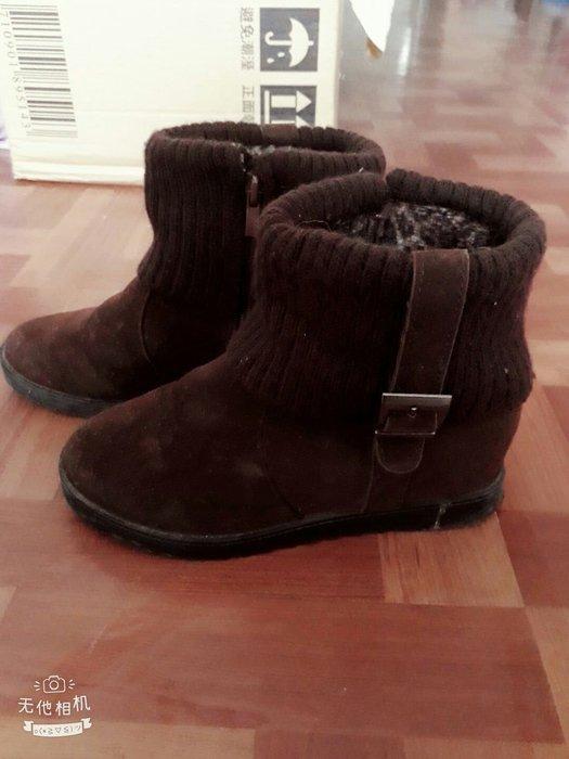 冬季聖誕就是要穿時尚不敗女靴保暖棕色平底反折設計豹紋內裡短靴