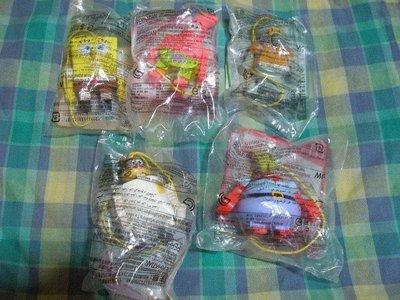 ((全新品))2012年麥當勞玩具@海綿寶寶完整一套((五款))A6
