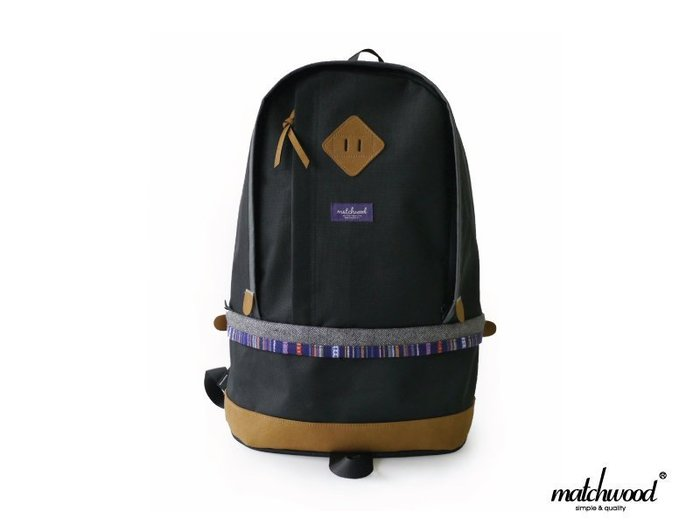 【Matchwood直營】Matchwood Bilayer 民族風後背包 旅遊包 黑色款 筆電夾層 精選6折優惠
