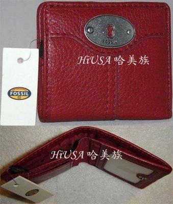 哈美族 全新 FOSSIL 經典鑰匙系列 紅色真皮對折短夾/鈔票夾/零錢包 附原廠禮盒
