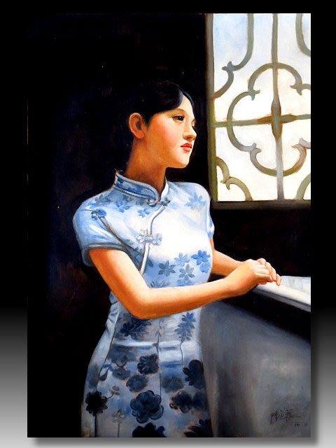 【 金王記拍寶網 】U1368  中國近代油畫家 陳逸飛款 手繪油畫一張 美人圖 ~ 罕見系列作品 稀少 藝術無價~