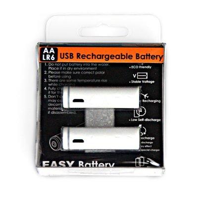 【CARD】新加坡B011環保3號電池 免充電器 AA(3號)  Micro USB 充電 (2入)-白色