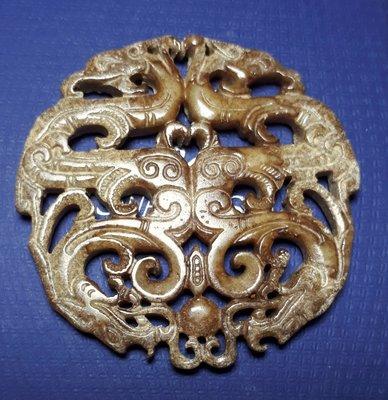 古玉佩 雙面雕工 早期收藏 AE2317