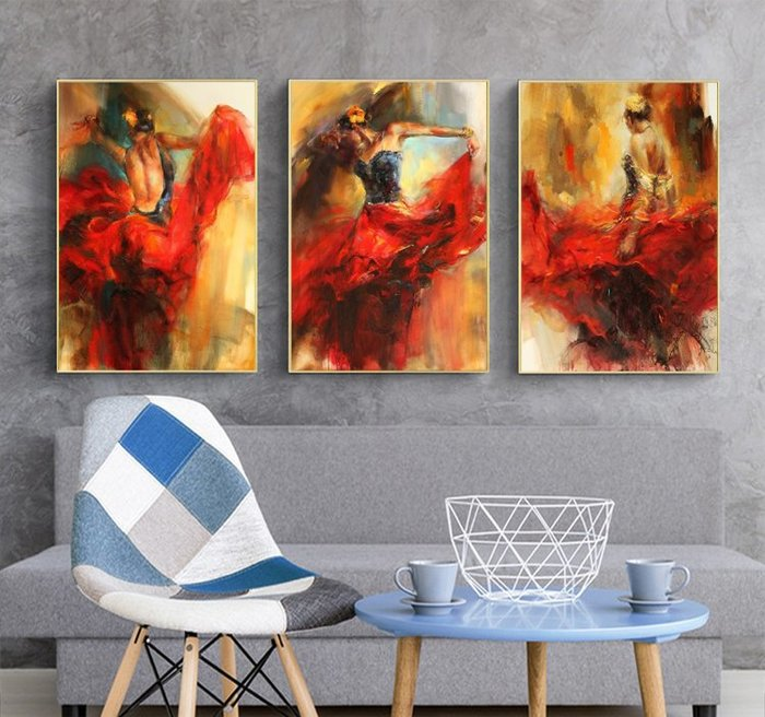 三幅一組油畫布 人物舞蹈舞者 畫芯/畫布/30X40☺暖暖屋☺傢居藝術館