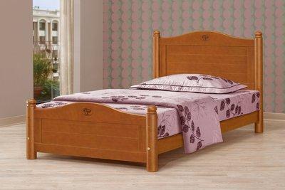 [歐瑞家具] CH148-1 3.5尺圓柱柚木色單人床(不含床墊)/系統家具/沙發/床墊/茶几/高低櫃/1元起