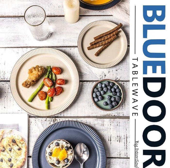 BlueD_ 依藍系列 復古條紋 8.5吋 圓盤 西餐盤 水果盤 義大利麵 甜點盤 平盤 仿舊陶瓷 創意設計可微波 歐式