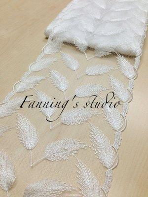 【芬妮卡Fanning服飾材料工坊】無敵推薦款!唯美羽毛刺繡網布蕾絲 高18.5cm 1碼入
