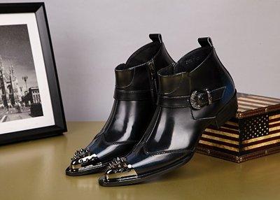 個性時裝男皮鞋 英倫男靴 個性潮流靴子短筒靴鐵頭馬丁鞋皮靴哈雷牛仔靴機車靴男